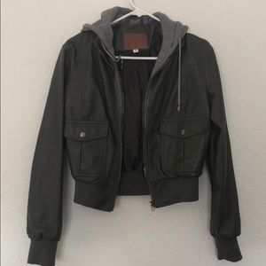 Olive green Faux leather Jacket, Sweater lining